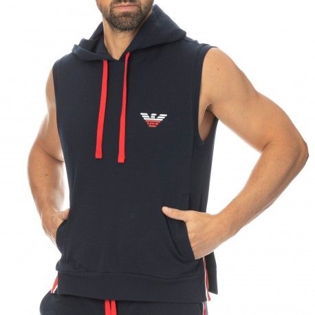 Emporio Armani Sweat-Shirt Capuche Iconic Terry Bleu Marine