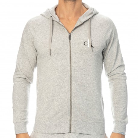 Calvin Klein Ck One Full Zip Hoodie - Heather Grey