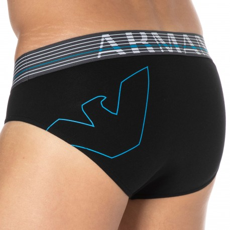 Emporio Armani Thin Eagle Cotton Briefs - Black
