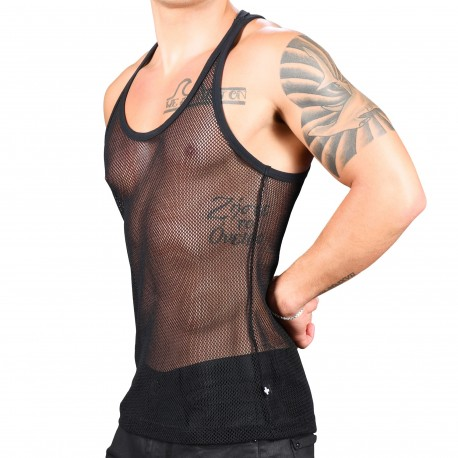 Andrew Christian Club Mesh Tank Top - Black
