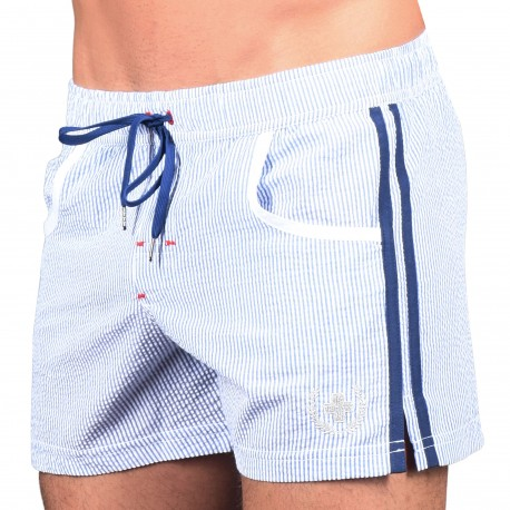 Andrew Christian Hamptons Swim Shorts - Blue - White Stripe