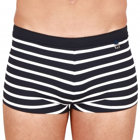 HOM Pavillon Swim Trunks - Navy - White Stripe