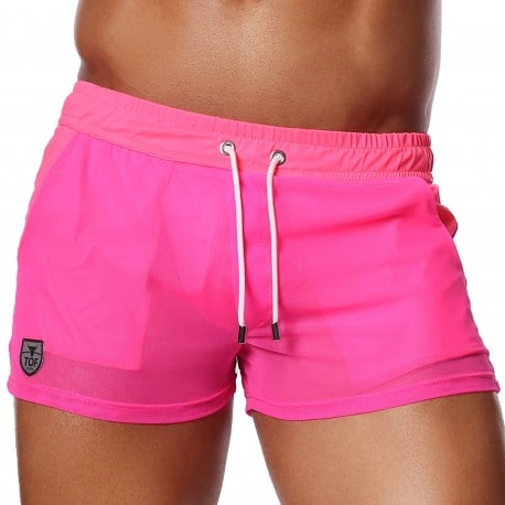TOF Paris Happy Mesh Shorts - Neon Pink