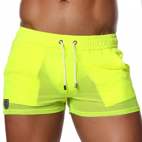 TOF Paris Happy Mesh Shorts - Neon Yellow