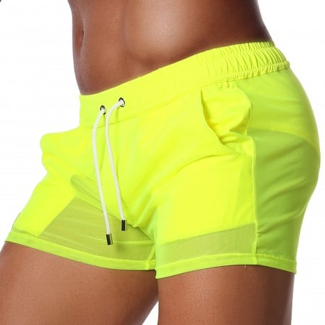 TOF Paris Short Happy Mesh Jaune Fluo