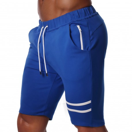 TOF Paris Fabio Cotton Knee-Length Shorts - Blue - White