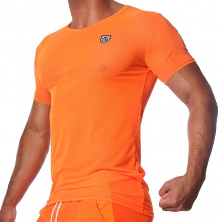 TOF Paris T-Shirt Happy Mesh Orange Fluo