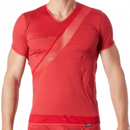 Lookme Jealous Microfiber V-Neck T-Shirt - Red