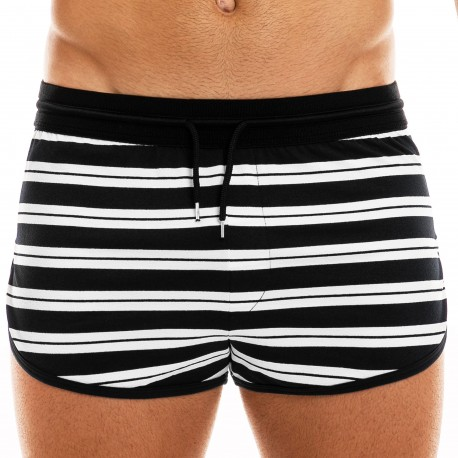 Modus Vivendi Hermes Cotton Jogger Shorts - Black - White Stripe