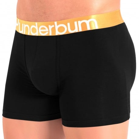 Rounderbum Boxer Long Padded Colors Coton Noir - Orange