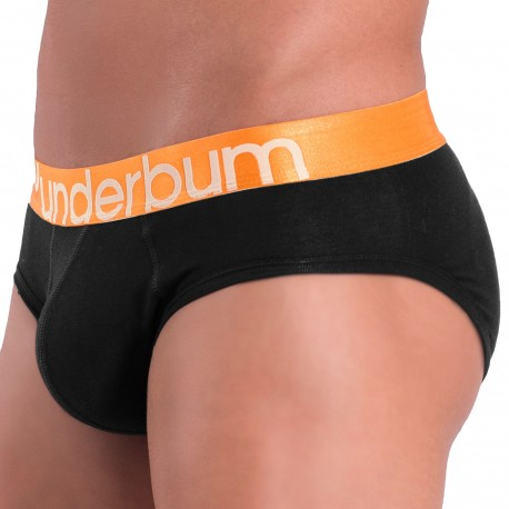 Rounderbum Colors Padded Cotton Briefs - Black - Orange