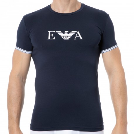 Emporio Armani Athletics Round-Neck Cotton T-Shirt - Navy Blue