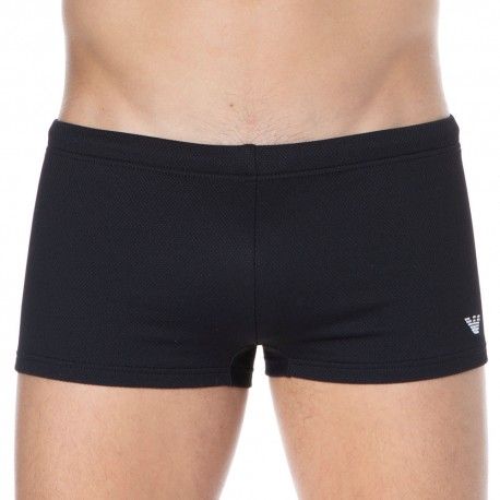 Emporio Armani Iconic Piquet Swim Trunks - Black