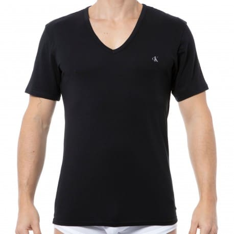 Calvin Klein 2-Pack Ck One Cotton V-Neck T-Shirts - Black