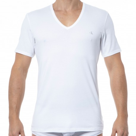 Calvin Klein 2-Pack Ck One Cotton V-Neck T-Shirts - White