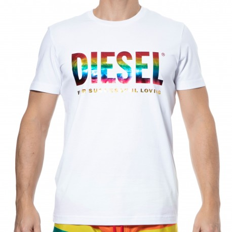 Diesel Rainbow Cotton T-Shirt - White