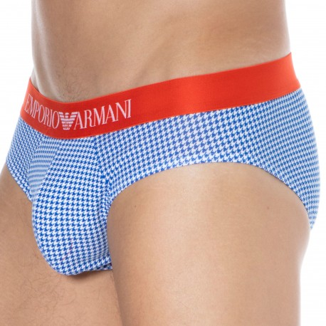 Emporio Armani Pop Print Cotton Briefs - Houndstooth