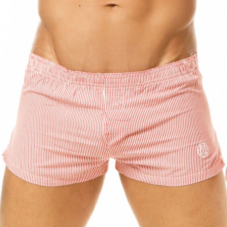 Marcuse Pinstripe Boxer Shorts - Red