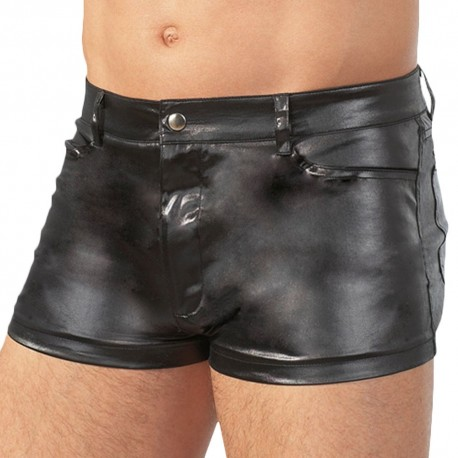 Orion Leatherette Shorts - Black