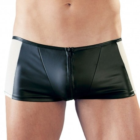 Orion Boxer Simili Cuir Zip Mesh Noir - Chair