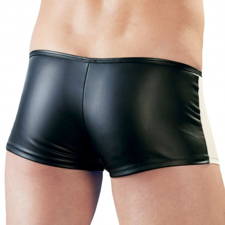 Orion Leatherette Zipped Trunks with Mesh - Black - Skin