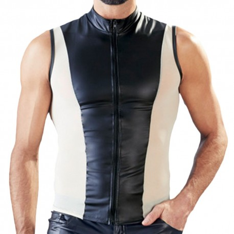 Orion Leatherette Zipped Vest with Mesh - Black - Skin