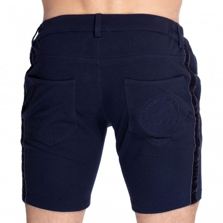 L'Homme invisible Basel Cotton Bermuda Shorts - Navy
