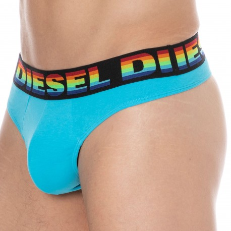 Diesel String Rainbow Coton Stretch Bleu Turquoise