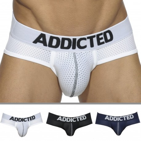 Addicted Lot de 3 Slips Mesh Push Up Blanc - Bleu Marine - Noir