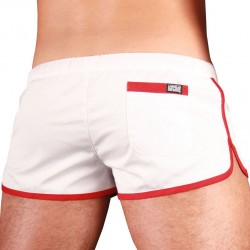 Gym Short - White - Red