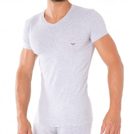 T-Shirt V-Neck Stretch Cotton Gris