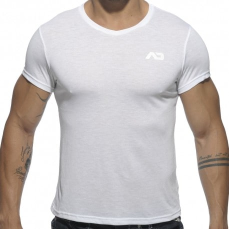 T-Shirt V-Neck Basic Blanc