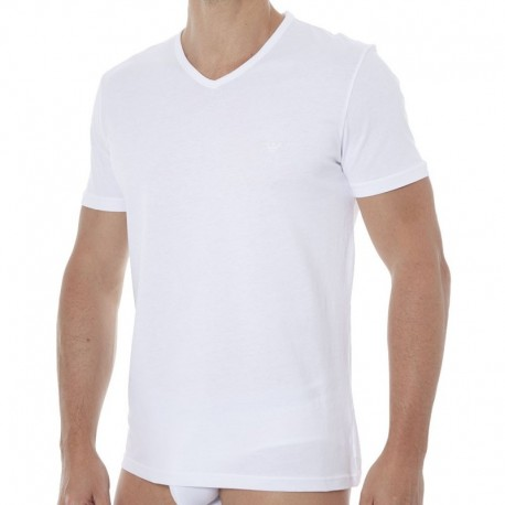 Emporio Armani Lot de 2 T-Shirts V-Neck Pure Cotton Blancs