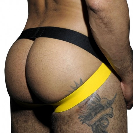 AD Fetish Stripe Fetish Jock - Black - Yellow