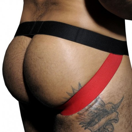AD Fetish Jock Strap Stripe Fetish Noir - Rouge