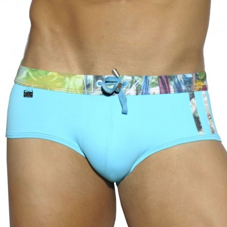 ES Collection Slip de Bain Contrast Stripes Turquoise