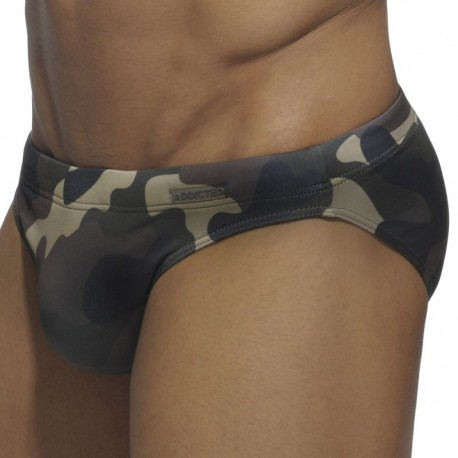 Addicted Camouflage Swim Brief - Brown