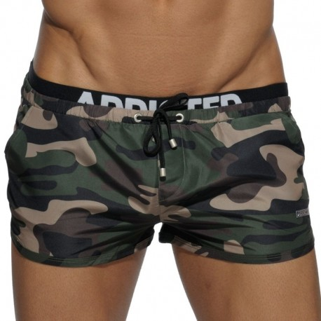Addicted Double Waistband Swim Short - Khaki Camo