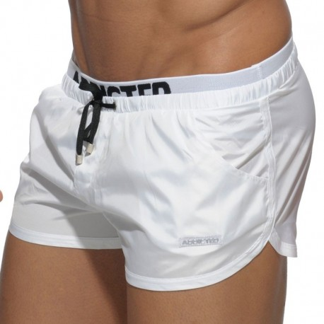 Addicted Double Waistband Swim Short - White