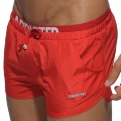 Double Waistband Swim Short - Red