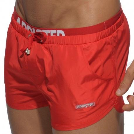 Addicted Double Waistband Swim Short - Red
