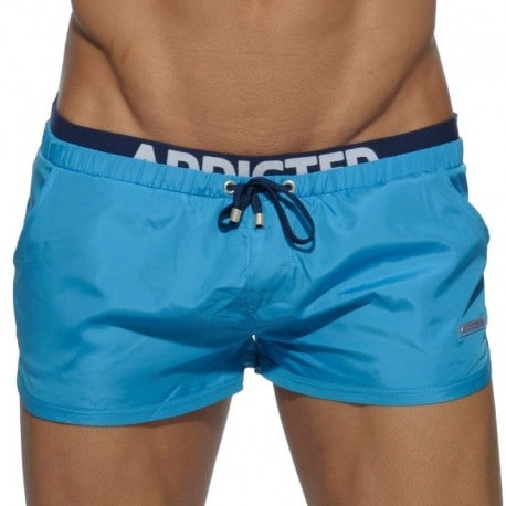 Addicted Double Waistband Swim Short - Turquoise