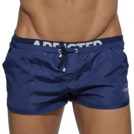 Addicted Double Waistband Swim Short - Navy