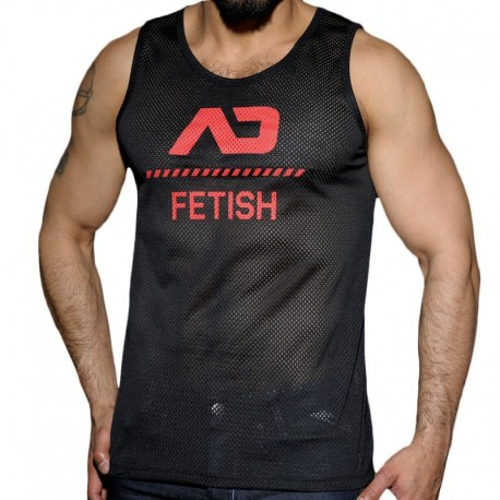 AD Fetish Mesh Tank Top - Black - Red