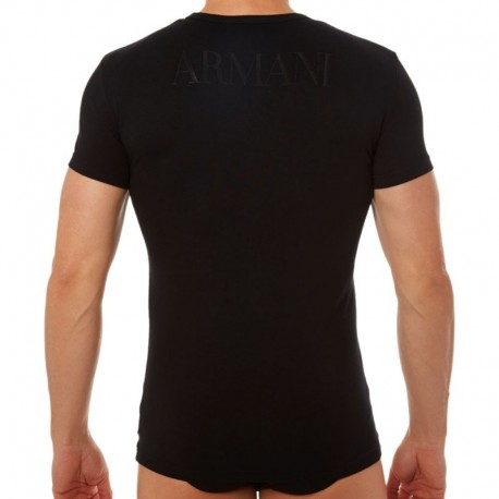 Emporio Armani Stretch Cotton Megalogo T-Shirt - Black