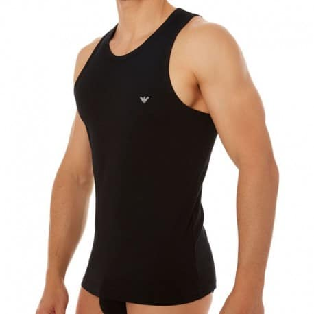 Emporio Armani Débardeur Stretch Cotton Eagle Noir