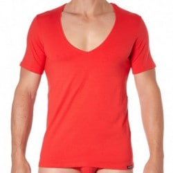 T-Shirt Essential Col V Rouge