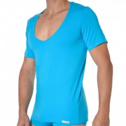 T-Shirt Essential Col V Turquoise