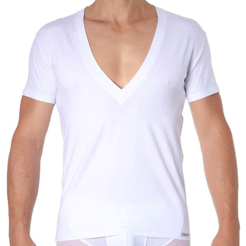 Doreanse T-Shirt Essential Col V Super Low Blanc