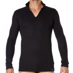 Thermal Zip T-Shirt - Black